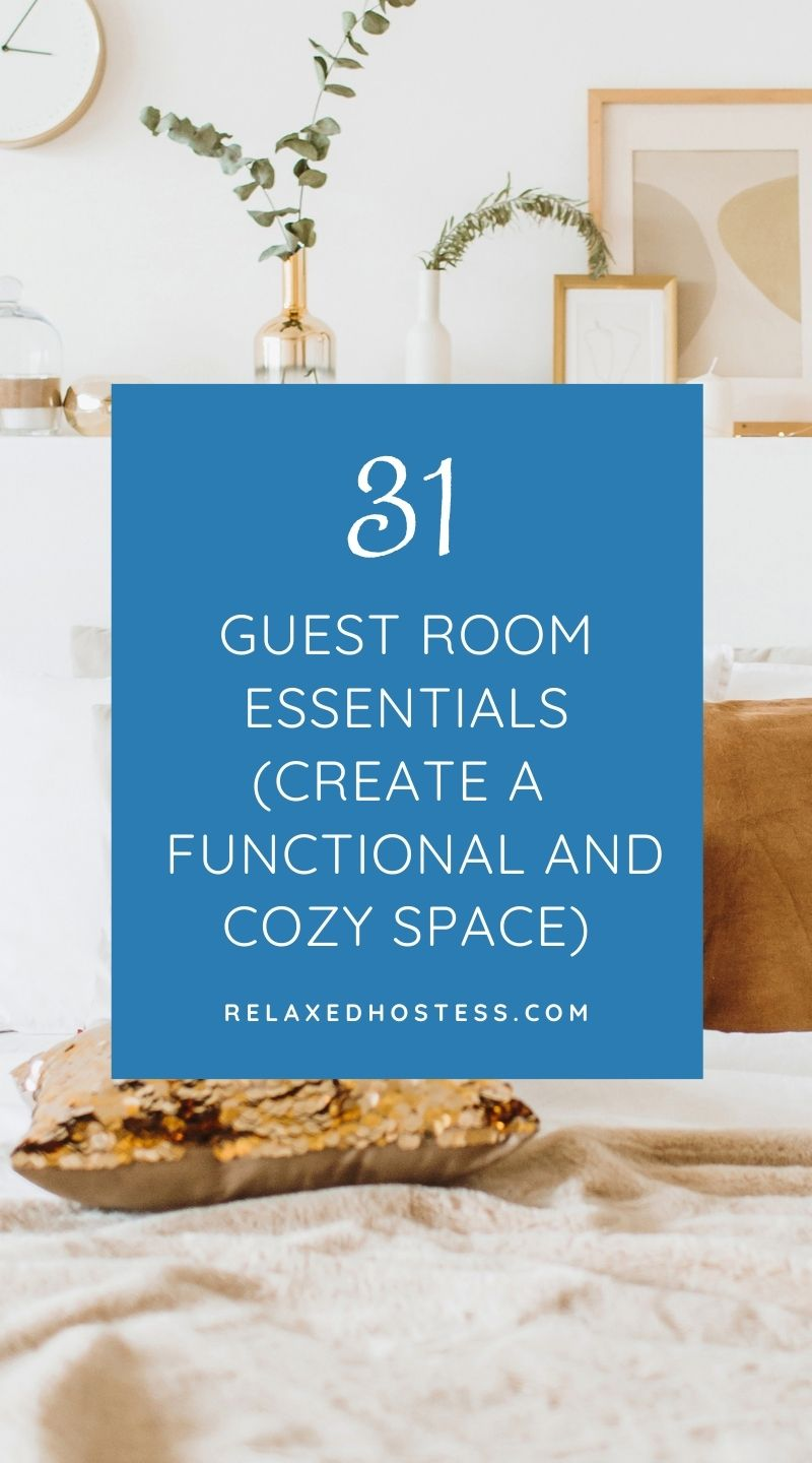 Guest room essentials list. How to create a functional and cozy space the guests enjoy. An image of a guest bedroom with gold accessories like pillows, wall clock and picture frames.