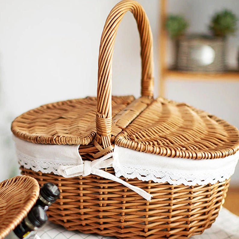 Handmade wicker basket with removable lining. (from organicgoodss, Etsy)