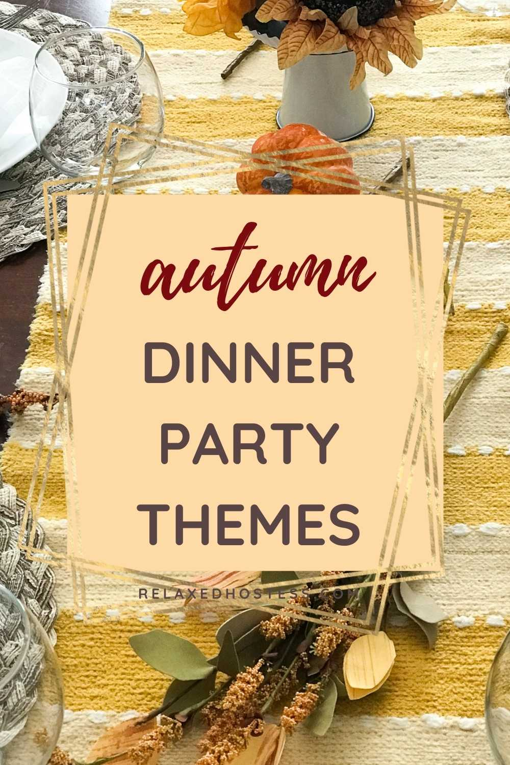 Autumn dinner party themes. Yellow striped table runner. Sunflowers on a white stand. Twigs and pumpkins on the runner.