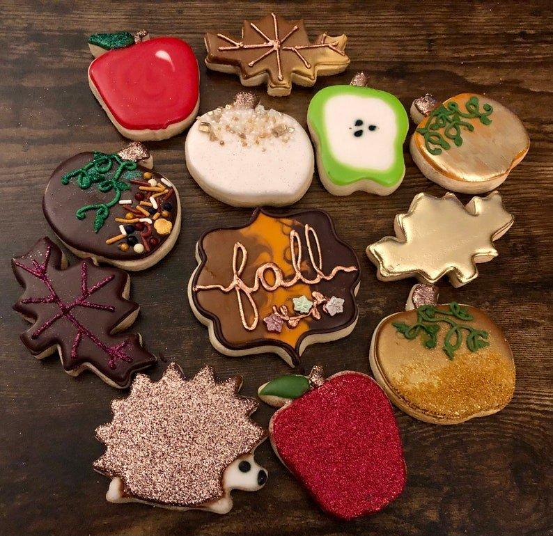 Autumn sugar cookies: apples, leaf, hedgehog, pumpkin from EnjoyByJenn