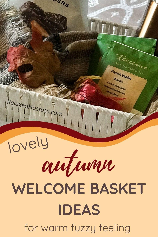 Autumn themed welcome basket. White basket, dark chocolate sea salt caramel, french vanilla tea bags, plaid shawl, thermos bottle.