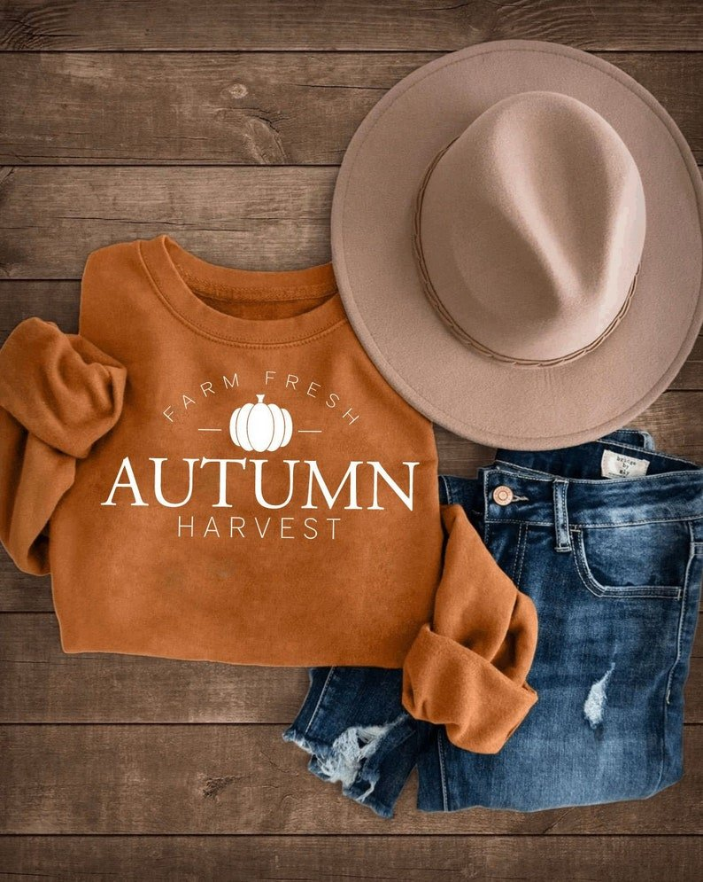 Farm Fresh Autumn Harvest Sweater in rusty-orange color. From SimplyStitchedbyMM