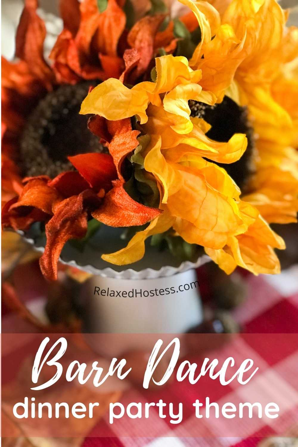 Barn Dance Dinner Party Theme: three sunflowers on a white washed stand. Red and white checkered table runner. Acorns next to the stand.
