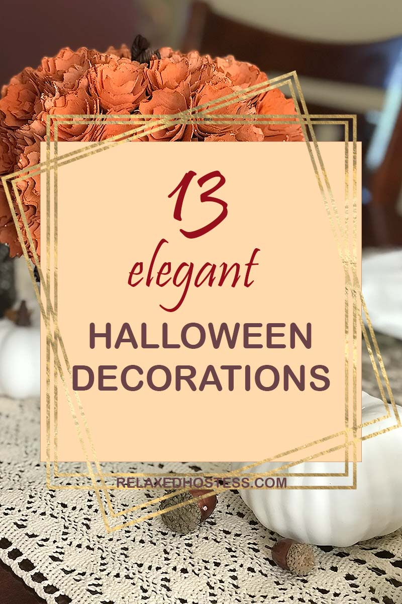 13 Elegant Halloween Decorations for Adult Party. White pumpkins, pumpkin made out of paper roses.